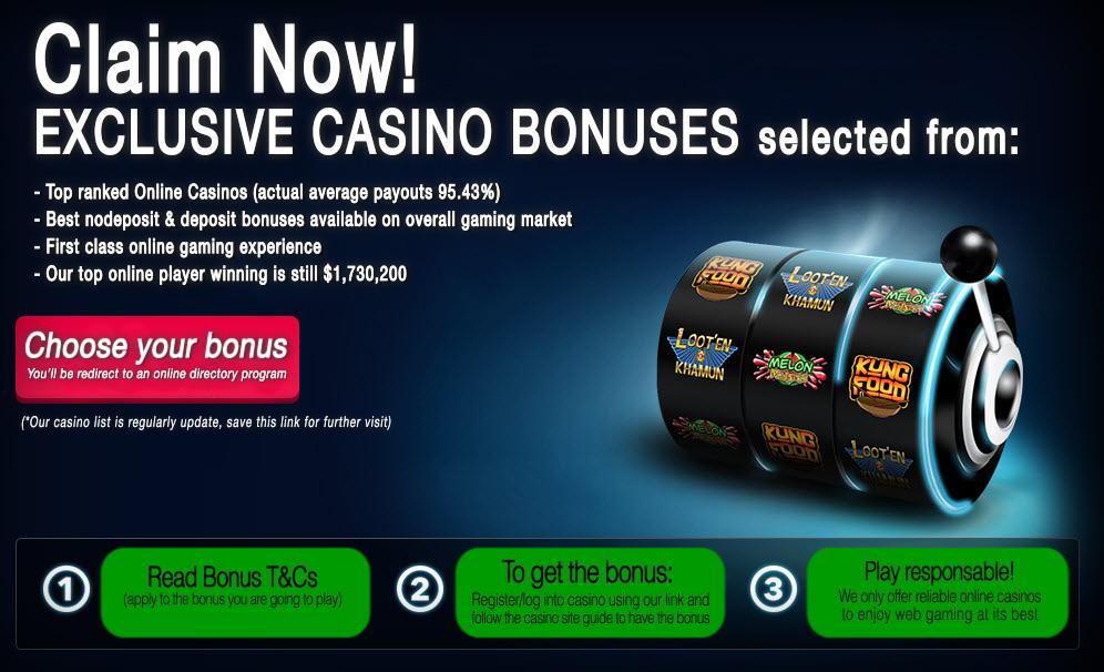 Claim Your Online Casino Bonuses now